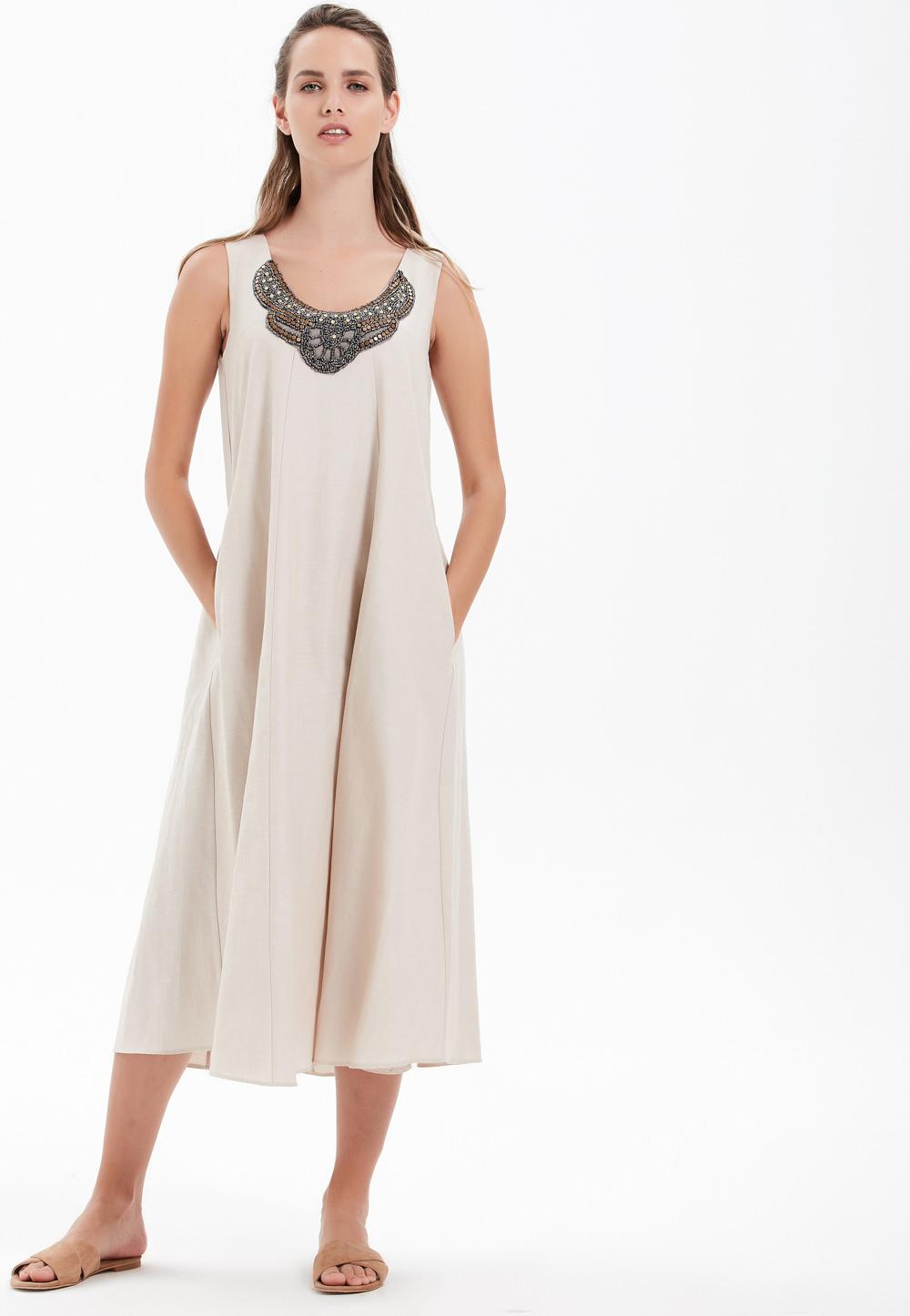 Askılı Uzun Elbise