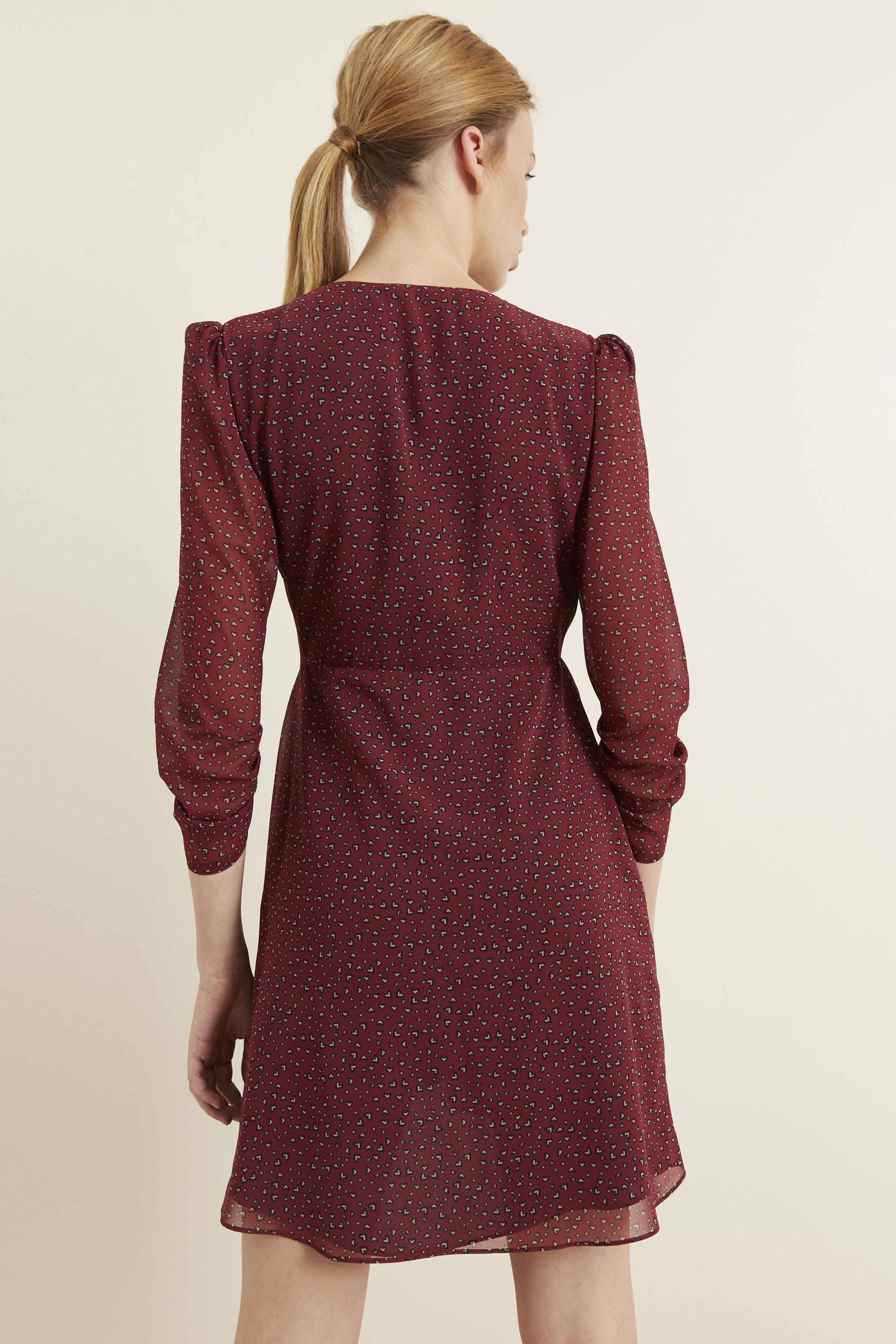 Bordo Kruvaze Desenli Şifon Elbise